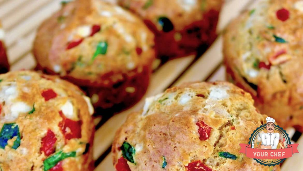 ❈ Savory Feta, Spinach, and Red Pepper Muffins ❈